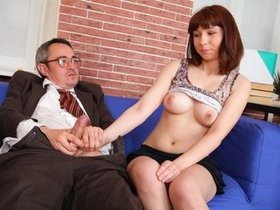 Busty babe opens her pussy for an old geezer