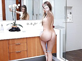 Shower blow and hard POV doggystyle for big assed babe
